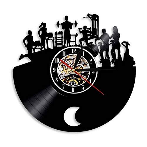 tyjsb Reloj de Pared Fitness Reloj de Vinilo Vintage Reloj Decorativo para Culturista Reloj Deportivo Gym Actividad Entrenamiento Decoración de Pared