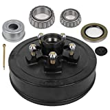 OCPTY Trailer Hub Brake Drum 10 x 2-1/4 Wheel Bearing Kits for 1-1/16 Outer 1-3/8 Inner Tapered Spindle Grease Seal for 3,500 lb. Axles 5 Bolt Lug