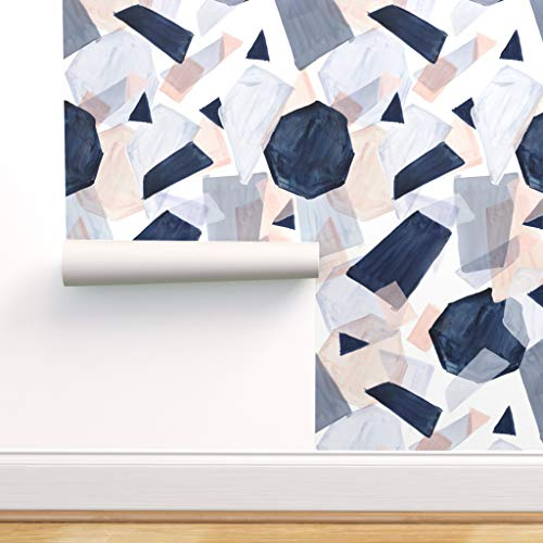 Spoonflower Peel and Stick Removable Wallpaper, Geometric Watercolor Shapes Abstract Navy Blush Boho Pastel Print, Self-Adhesive Wallpaper 12in x 24in Test Swatch