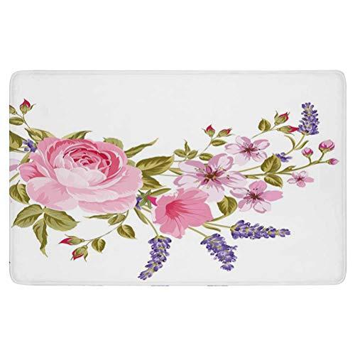 Lavender Area Rug,Bridal Style Garland of Rose Sakura and Lavender Vintage Artistic Bouquet Flora,for Living Room Bedroom Dining Room,7'x 3',Multicolor