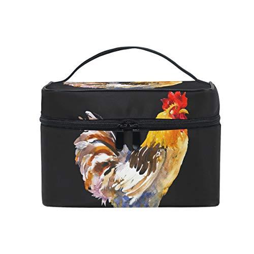 ALARGE - Bolsa de maquillaje con diseño de pollo animal, bolsa de cosméticos grande, bolsa de aseo portátil de viaje, organizador para mujeres y niñas