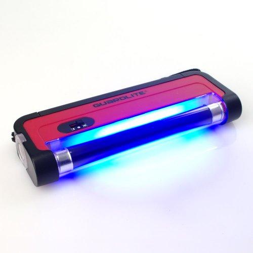 UV Handlampe Guardlite 1 Schwarzlicht Röhre 365nm mit Trageschlaufe und Taschenlampe (ohne Batterien: 4x AA) - für UV Stempelfarbe, UV Leuchtfarbe, Schwarzlichtfarbe, Geldprüfgerät, Einlasskontrolle Diskotheken und Events, Banknoten, Hygienekontrolle (Urin), Fluoreszenz (langwellig) bei Mineralien und Fossilien, Briefmarken, Ausweise, Führerscheine, Passkontrolle, Dokumente mit UV Markierungen