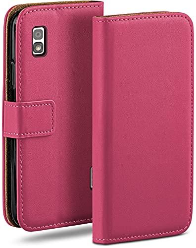 moex Klapphülle kompatibel mit LG Google Nexus 4 Hülle klappbar, Handyhülle mit Kartenfach, 360 Grad Flip Hülle, Vegan Leder Handytasche, Pink