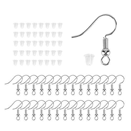 AIEX 200 Pièces Crochets de Boucle d'oreille Fil d'oreille Crochets Fournitures de Fabrication de Boucle d'oreille pour Faire de Boucles d'oreille