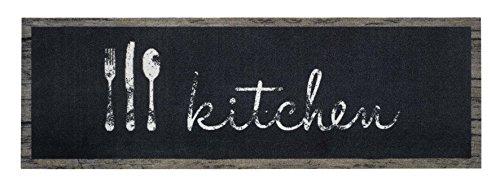 Deko Küchenteppiche Küchenläufer Küchenmatte Teppich Läufer Lauefer Kuechenlauefer Antirutschmatte für Küche waschbare Küchenläufer Motiv Kitchen schwarz Größe 50 x 150 cm Maschinen waschbar 30 grad