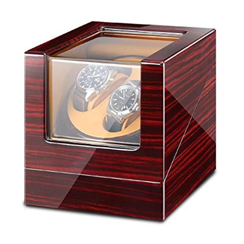 XLAHD Enrollador automático de Relojes, Relojes y Joyas Caja enrolladora Doble para Relojes automáticos con luz LED Azul, Adaptador de CA y Pintura de Piano a batería Exterior