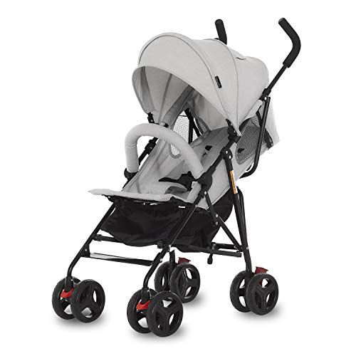 Dream On Me Vista Moonwalk Stroller | Lightweight Infant Stroller with Compact Fold | Multi-Position Recline | Canopy with Sun Visor | Perfect for Traveling & Theme Parks, Light Grey