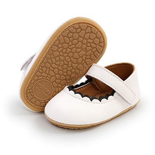 Blaward Newborn Baby Girl Mary Jane Shoes Infants Anti-Slip Princess First Walking Shoes for 0-18Months White