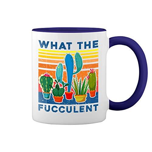 What The Fucculent Sexy Blanca taza de caf con el borde azul y la manija Mug