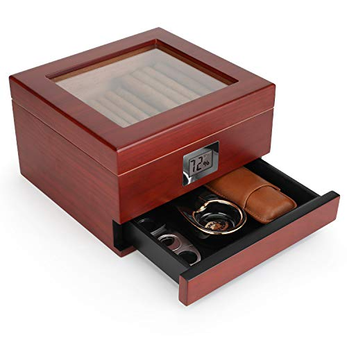 Flauno Glass Top Cigar Humidor, Handcrafted Cedar Humidor Cigar Box with Accurate Digital Hygrometer, Cigar Humidifier and Accessory Drawer, Holds (25-50 Cigars)