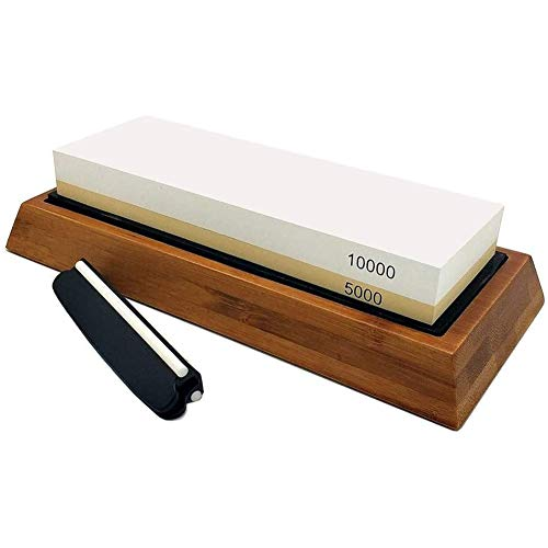 BOINN Whetstone Set,5000/10000 Grit Double-Sided Knife Sharpening Stone for Kitchen,Non-Slip Bamboo Base and Angle Guide