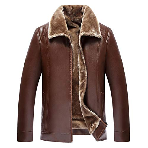 ZRUIYY Autumn and Winter New Leather Coat Thickened Coat Men's Leather Jacket Leisure Leather