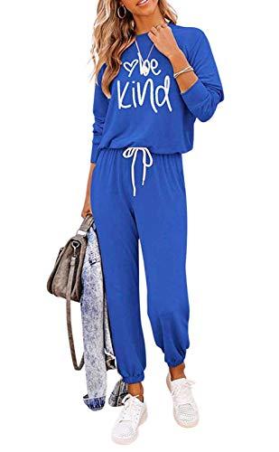 Loalirando Completo Sportivo Donna Maglietta a Manica Lunga + Pantaloni Sportivi a Vita Alta con Tasche (Blu, L)