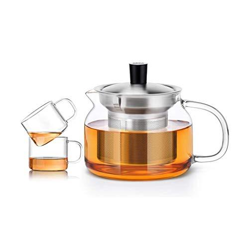 JiangKui Tetera de Vidrio, Fugas de Té, Tetera Transparente de Vidrio Resistente Al Calor, Mini Taza con Asa Y Tapa Y Estufa de Filtro, Seguridad