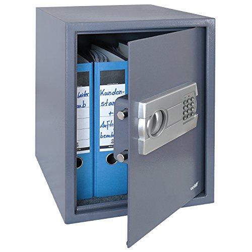 HMF 4612812 Tresor, Möbeltresor A4 Ordner, Elektronikschloss, 36,0 x 48,0 x 37,0 cm , anthrazit