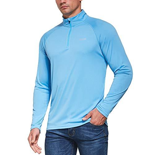 Ogeenier Hombre Deportiva Camiseta de Manga Larga con protección Solar contra UV UPF 50+