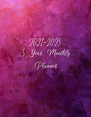 5 year monthly planner 2021-2025 Purple Grunge Background: 60 Months Planner and Yearly Agenda Schedule Organizer & Federal Holiday | Appointment ... Five Years Size 8.5 X 11 Inches 143 Page .