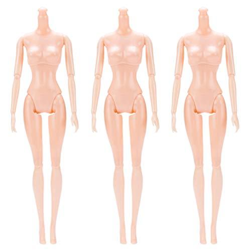 HEALLILY Plástico Rotativo Desnudo 26 Cm 12 Articulaciones Móviles Muñeca Juguete Desnudo Cuerpo Muñecas Juguete Figura Femenina Muñeca Accesorio 3 Piezas