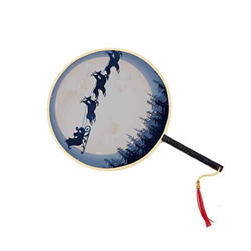 WYYWCY Santa's Schlitten am Nachthimmel Chinesischer Antiker Fan Klassischer Palast-Paddel-Fan Tanz-Fan Chinesische Fans Für Frauen Handfächer Fan Hand Handfächer Reise