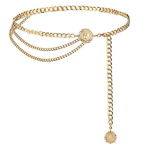 YooAi Cinturones De Cadena para Mujer, Cinturón De Vestir De Cadena De Cintura Multicapa, Cinturón De Metal para El Vientre, Cadena Girasol 130cm Dorado