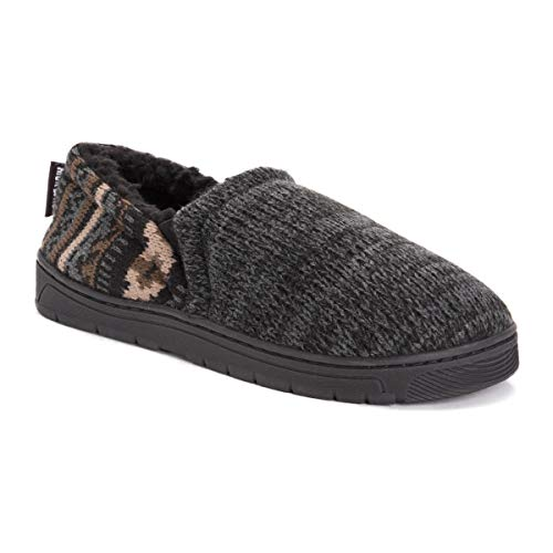 MUK LUKS Men's Christopher Slippers, Ebony/Dark Grey, Large M US