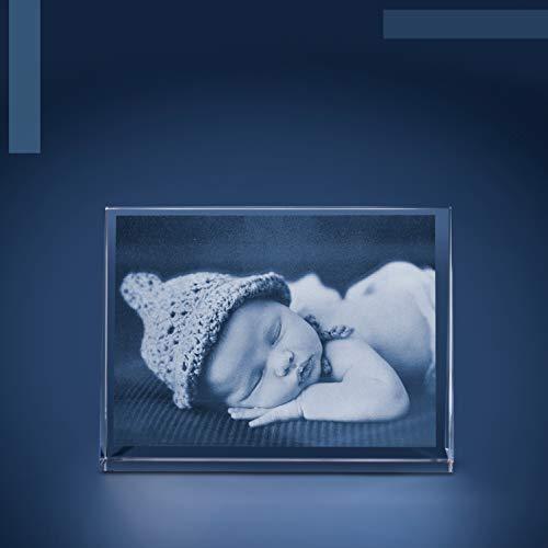 Isonio Glasfoto - Ihr Foto in hochwertiges Viamant Glas gelasert, Foto im Glas als Fotogeschenk (Glasfoto, Gr. L Quer 135 x 100 x 35 mm)