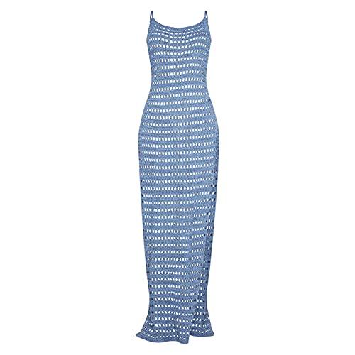 Las mujeres de ganchillo cubren el traje de baño sexy borla bikini traje de baño largo Maxi alta Split vestidos sexy ropa de playa, azul, M