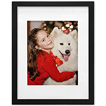 Ophanie 11x14 Picture Frame with 8x10 Mat Photo Frame Made of Solid Wood and High Definition Plexiglass for Wall Display Pictures Black