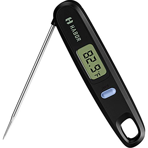 Habor Digital Cooking Kitchen Thermometer Instant Read Sensor with Foldable Probe for Food Baking Liquid Meat BBQ Grill Smokers, Standard, Deep Dark