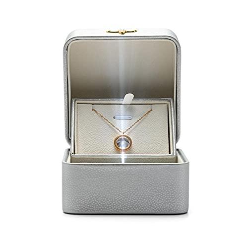 SHOWWE Caja de joyería de 2 piezas con diseño ligero y novedoso collar anillo caja de regalo de cuero avanzado pedir caja de boda para decoración (plata)