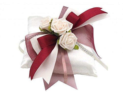 ZauberDeko Ringkissen Creme Bordeaux Rosen Hochzeit