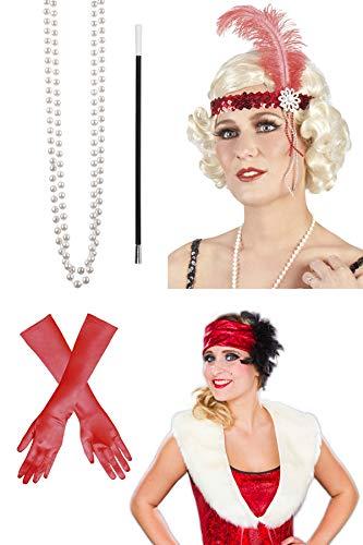 Marco Porta Accesorios para disfraz de Charleston aos 20 y 30, 5 piezas, Carnaval (rojo)