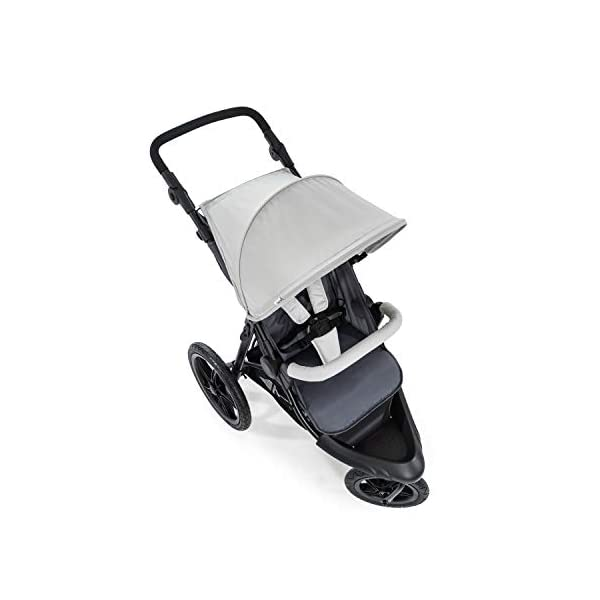 Hauck Runner, Jogger Style, 3-Wheeler, Pushchair with Extra Large Air Wheels, Foldable Buggy, For Children from Birth to 25kg, Lying Position - Silver Grey Hauck LONG USE - This 3-wheel pushchair is suitable from birth (in lying position or in combination with the 2in1 Carrycot) and can be loaded up to 25kg (seat unit 22 kg + basket 3 kg) ALL-TERRAIN - Thanks to the big air wheels - back 39cm diameter, front 30 diameter – as well to the swiveling and lockable front wheel, this jogger style pushchair can be used on almost any terrain COMFORTABLE - Thanks to adjustable backrest and footrest, sun canopy, large shopping basket, and height-adjustable push handle 13