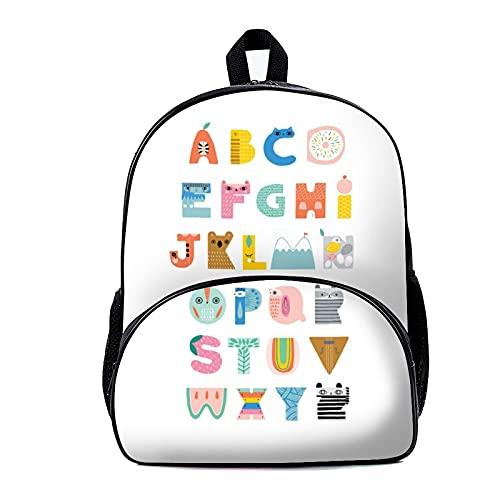 Mochila escolar ABC 18 x 30 x 40 cm - Mochila escolar, viajes, trabajo o portátil