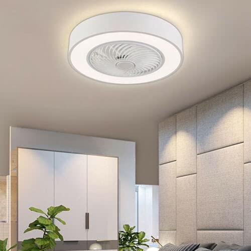 Ventilador de techo de 22 pulgadas con iluminación blanca LED, lámpara de techo de acrílico, lámpara de techo ultrasilenciosa, con temporizador, 3 velocidades, 3 colores de luz con mando a distancia