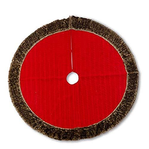 K&K Interiors, 48 Inch Red Cable Knit Tree Skirt W/Brown Fur Trim