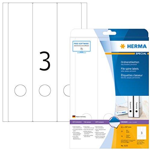 HERMA 5135 Ordnerrücken Etiketten DIN A4 blickdicht, breit/lang (61 x 297 mm, 25 Blatt, Papier, matt) selbstklebend, bedruckbar, permanent haftende Ordneretiketten, 75 Rückenschilder, weiß