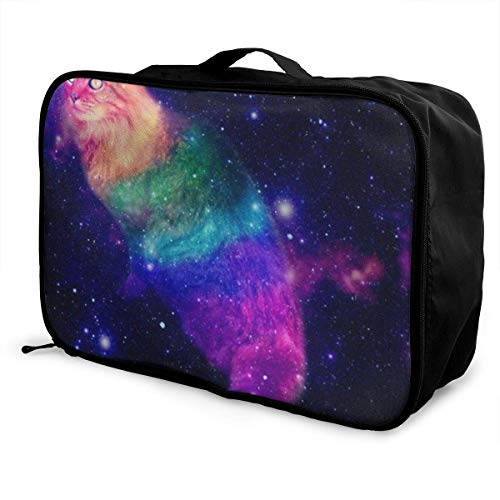 bolsas de maleta Cat in Space Tumblr Galaxy Young Men and Women School Luggage Bag Lightweight Large Capacity Portable Holiday Travel Bags Tote Duffel Carry-on in Trolley Holiday Suitcase Bags