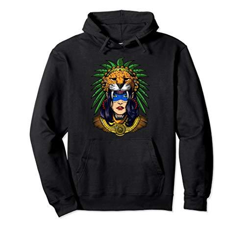Aztec Jaguar Warrior Native Mexican Mayan Indian Queen Pullover Hoodie