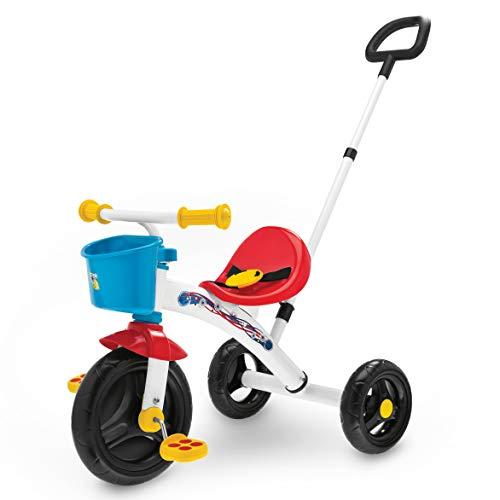 Chicco Triciclo U-GO 2en1, Triciclo para Niños con Mango de Altura Ajustable, Cinturón y Compartimento de Almacenaje – Juguetes para Niños de 18 Meses a 5 Años, Máx. 20 Kg, Color Blanco/Rojo