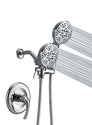 JINGZE Shower System, Dual Shower Faucet Set with Valve, 5'' Handheld Showerhead & Rain Shower Combo Set , High Pressure 3-way Water Diverter Shower Trim Kit 24-Function Chrome