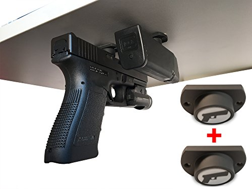 2-Pack | Gun Magnet w/ Adhesive Backing | Car Holster | Bedside Holster | Steering Wheel Gun Holster | Under The Desk Pistol Holster | Gun Holsters For Cars | Vehicle Gun Mount | Pistol Holster In Car