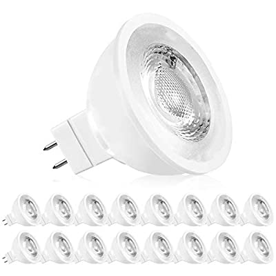 Luxrite MR16 LED Bulb 50W Equivalent, 12V, 5000K Bright White Dimmable, 500 Lumens, GU5.3 LED Spotlight Bulb 6.5W, Enclosed Fixture Rated, Perfect for Track and Home Lighting (16 Pack)