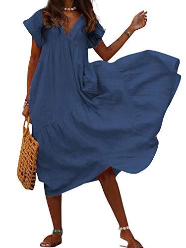 Robe Plissee Femme Mi Longue Boheme Hippie Chic Tunique sans Manche été Retro Vintage Patchwork Debardeur Robe Trapeze Grande Taille Mode Caftan Court Kaftan Plage Pareo et Maillot de Bain Mini Dress