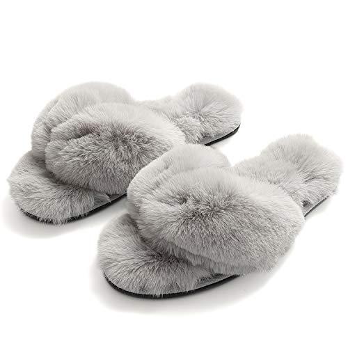 FLY HAWK Damen Pantoffeln, Plüsch Flip Flops aus Kunstfell rutschfeste Hausschuhe Fluff Zehentrenner Weiche Warme Fellhausschuhe