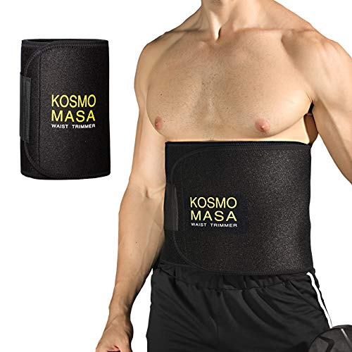 Waist Trimmer for Men,KOSMO MASA Slimmer Sweat Belt for Women,Waist Trainer for Weight Loss,Stomach Wrap Premium Exercise Band Body Cincher Fat Belly Strap,Includes Free Sample of Wristbands- XL Black