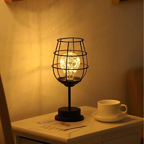 Metall Tischlampe,Nachttischlampe Stehlampe,Batteriebetrieben Nordic Style Eisen Schreibtischlampe kreative Nachtlicht dekorative Beleuchtung für Schlafzimmer, Hotel (Weinglas)