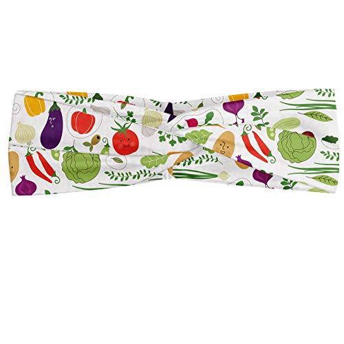 ABAKUHAUS Légume Bandeau, Illustration de végétarien nourriture saine chou Chilli Peppers tomates Pommes de terre, Serre-tête Féminin Élastique et Doux pour Sport et pour Usage Quotidien, Multicolore