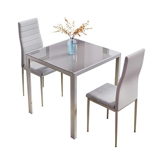J Esstisch und Stühle, Glas, quadratisch, kleiner Küchentisch mit hoher Rückenlehne (grau, 3)