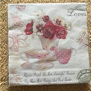 HXQCZ Table napkins paper tissue color print tea pot flower handerchief decoupage wedding birthday party cafe decoration m...